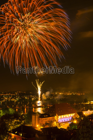 germany constance view of fireworks at