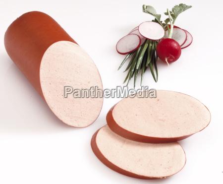 natura morta freschezza salsiccia verdura taglio