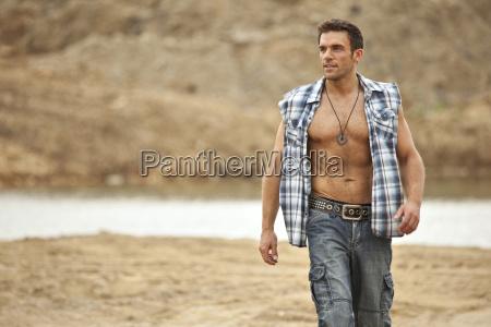 germany bavaria man walking with quarry
