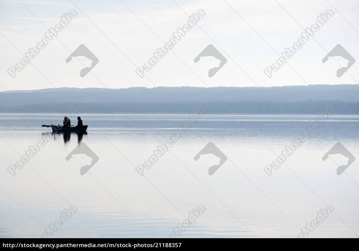 germany, , bavaria, , fishermen, in, boat, at - 21188357