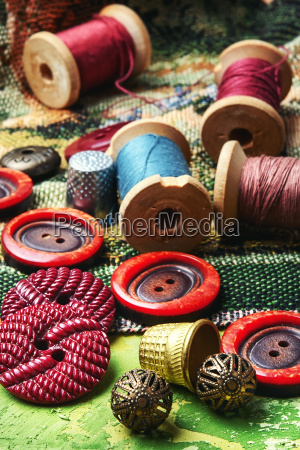 sewing kit of thread buttons and