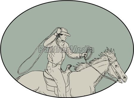 cowboy riding horse lasso oval drawing