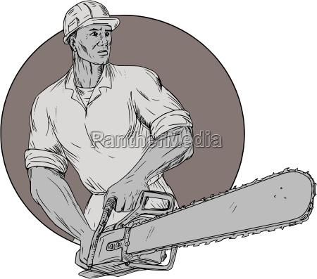 lumberjack arborist holding chainsaw oval drawing