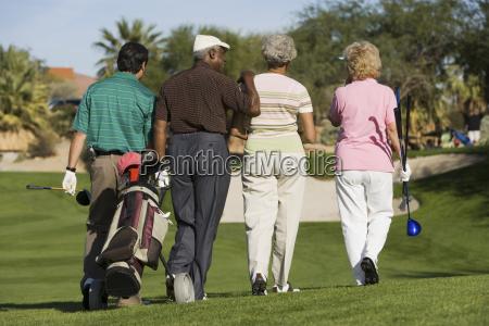 rear view of senior golfers walking