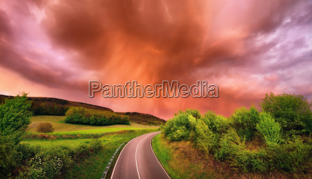 tramonto cielo firmamento strada paesaggio natura
