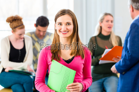 university student in class with professor