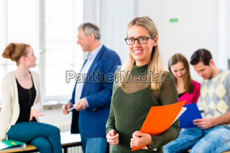 university college student in class room