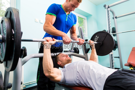 men in sport gym training with