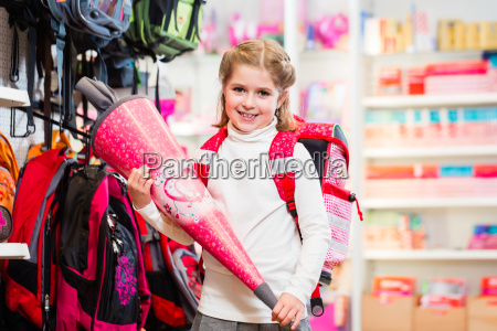 schoolgirl with first day cone in