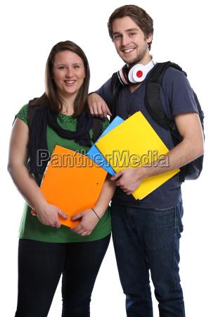 coppia di studenti giovane donna giovane