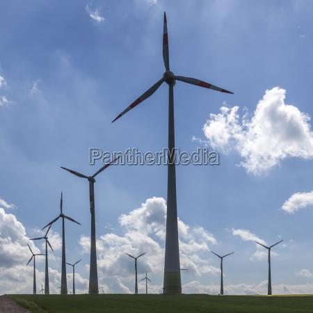 wind power plants in the shade