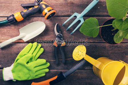 strumenti e attrezzature di giardinaggio su
