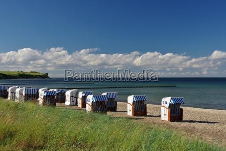 cliff baltic sea and beach chairs