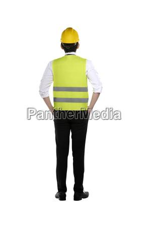 vista posteriore del lavoratore asiatico indossare