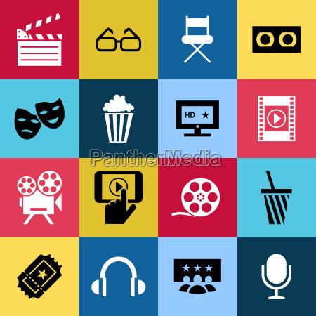 vettore digitale blu blu 16 icone
