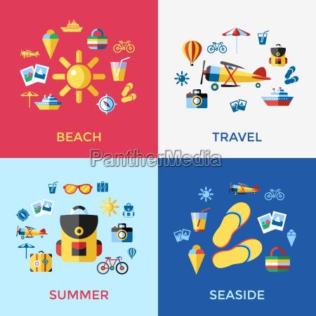 digitale vettoriale blu rosso spiaggia icone
