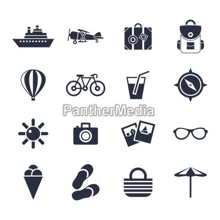 vettore digitale icone di viaggio di