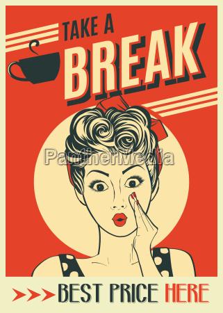 pubblicita di caffe retro poster con