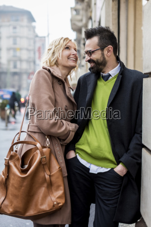 happy business couple in the city