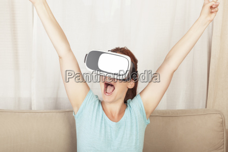young women wins in virtual reality