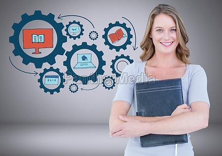 donna con disegni grafici educativi