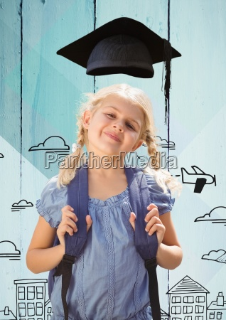 girl with bagpack in graduation hat