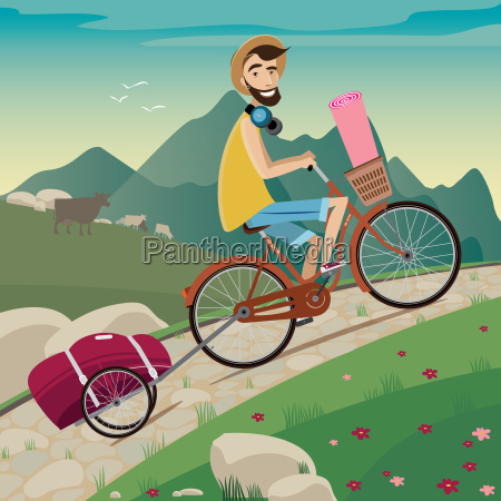 backpacker nel tour in bicicletta in