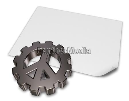 peace symbol in the gearwheel