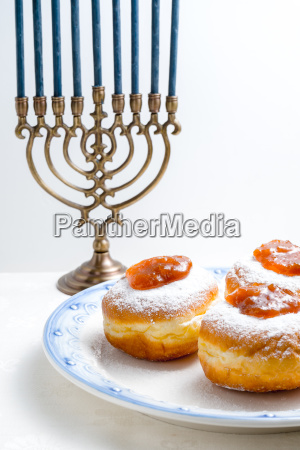 hanukkah with candles plates butter in