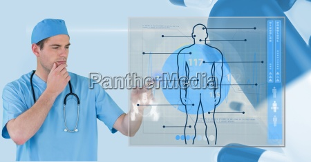 digital composite image of doctor touching