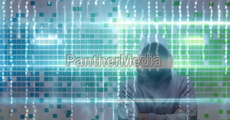 digital composite image of hacker on