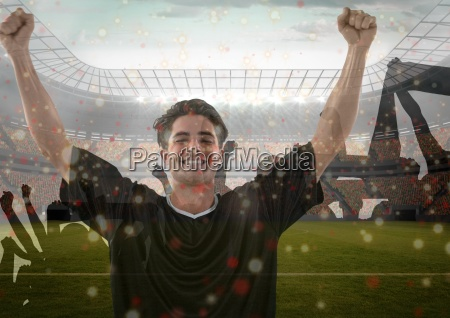 soccer player celebrating the victory with