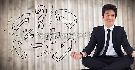 3d uomo daffari meditando contro pannello