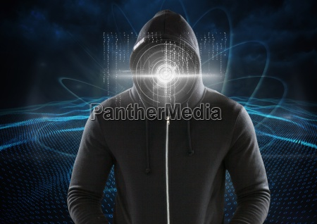 hacker with a digital circle on