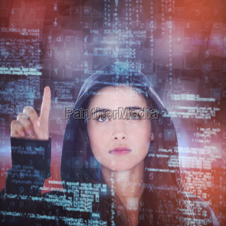 composite image of young female hacker
