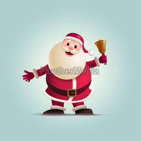 santa claus holding christmas bell
