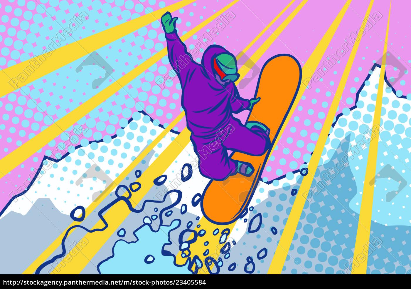 salto, con, lo, snowboard, sport, invernali, stile, di - 23405584