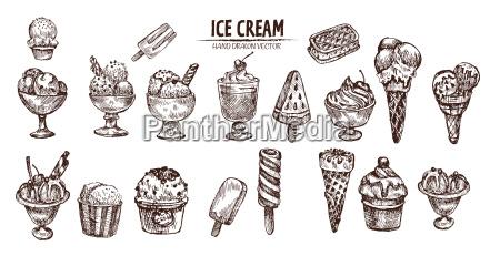 vettore digitale dettagliato line art gelato