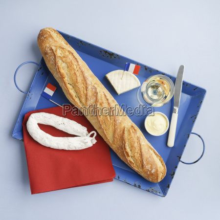 french snack with baguette white