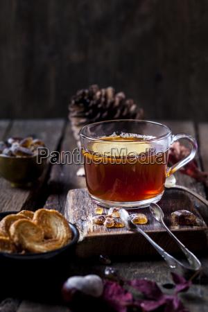 natura morta bicchiere cibo te tea