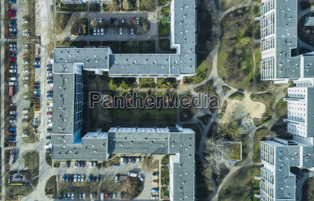 aerial view of apartment buildings in