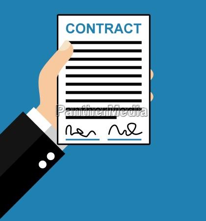 segnale blu nota mano contratto accordo