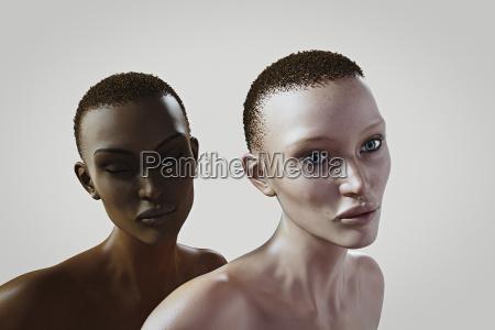 donne simili con diverso colore della