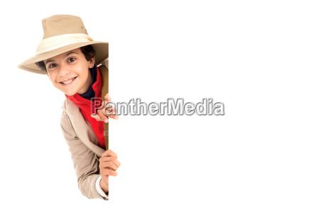 ragazzo in abiti da safari