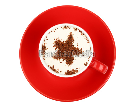 cappuccino coffee in red cup isolated