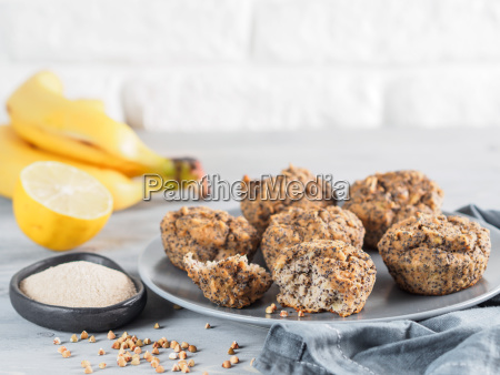 banana muffins with buckwheat flour and