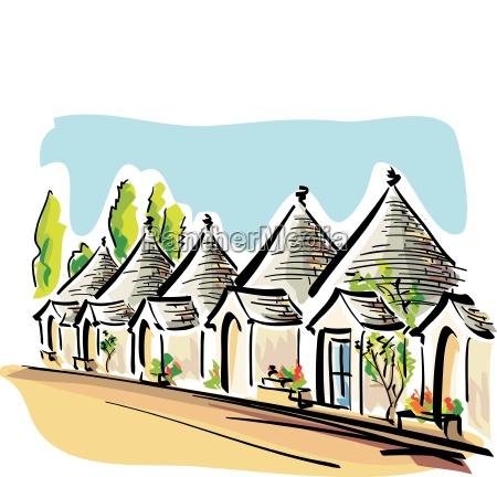 illustrazione vettoriale delle case tipiche pugliesi