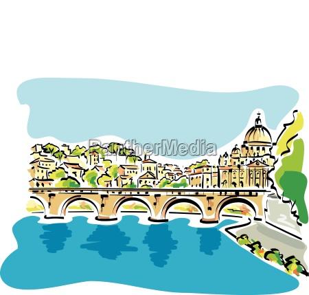 illustrazione vettoriale del panorama di romacon