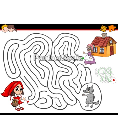cartoon maze activity with little red