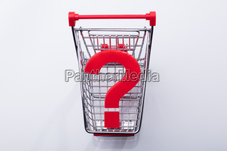 shopping cart with question mark sign
